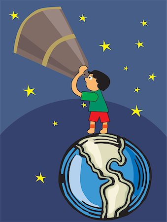 students learning cartoon - Boy looking through telescope towards sky Stock Photo - Premium Royalty-Free, Code: 645-02153466