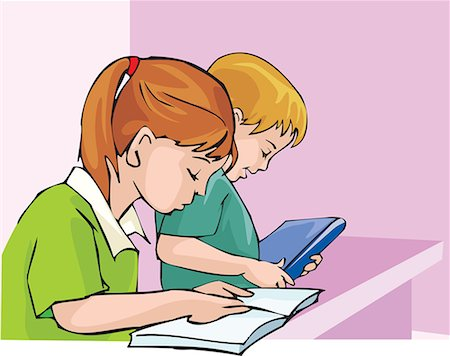 students learning cartoon - Side view of student studying with concentration Stock Photo - Premium Royalty-Free, Code: 645-02153474