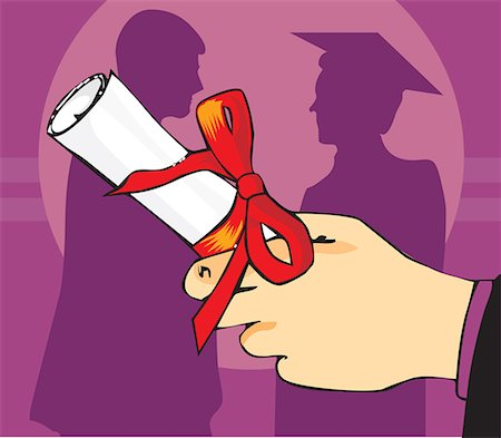 students learning cartoon - Close up view of a hand holding graduation degree Stock Photo - Premium Royalty-Free, Code: 645-02153475