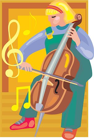 students learning cartoon - Front view of a girl playing violin Stock Photo - Premium Royalty-Free, Code: 645-02153476
