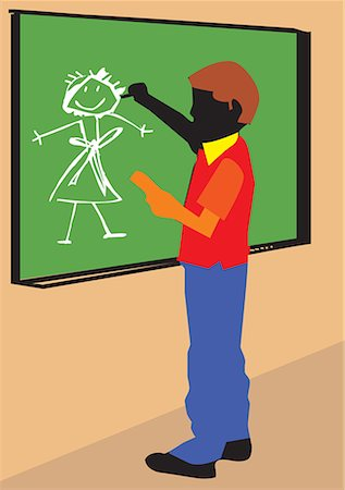 students learning cartoon - Side view of a boy making drawing on board Stock Photo - Premium Royalty-Free, Code: 645-02153470