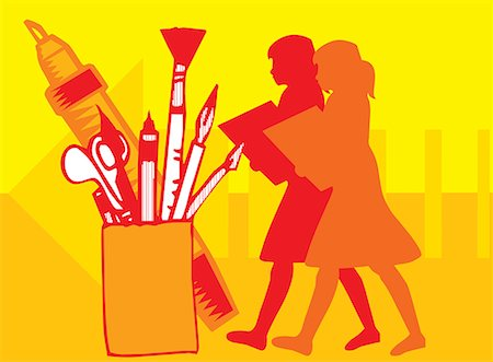 students learning cartoon - Assortment of paintbrushes in a holder Stock Photo - Premium Royalty-Free, Code: 645-02153472