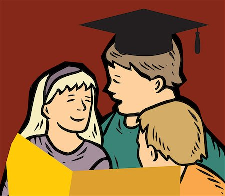 students learning cartoon - Students studying together Stock Photo - Premium Royalty-Free, Code: 645-02153473