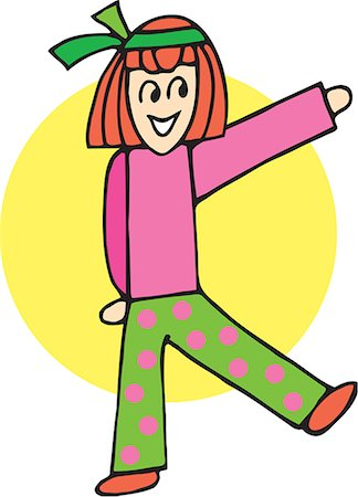 students learning cartoon - Front view of girl forming K Stock Photo - Premium Royalty-Free, Code: 645-02153488