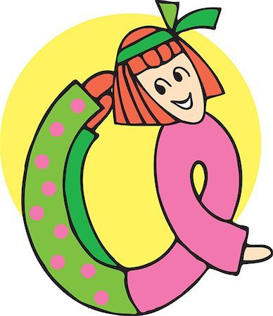 students learning cartoon - Close up view of girl forming Q Stock Photo - Premium Royalty-Free, Code: 645-02153494