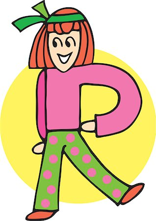 students learning cartoon - Front view of girl forming alphabet R Stock Photo - Premium Royalty-Free, Code: 645-02153495