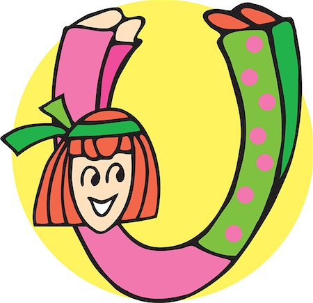 students learning cartoon - Close up view of girl forming alphabet U Stock Photo - Premium Royalty-Free, Code: 645-02153498