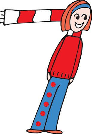 students learning cartoon - Front view of girl forming digit 7 Stock Photo - Premium Royalty-Free, Code: 645-02153511