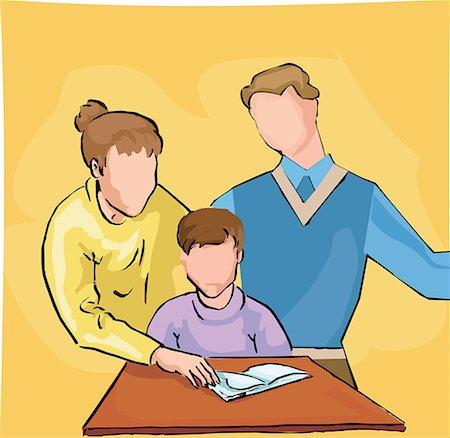 Parents teaching their child Stock Photo - Premium Royalty-Free, Code: 645-02153525
