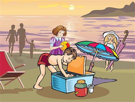 Children having picnic on beach Stock Photo - Premium Royalty-Free, Code: 645-02153527