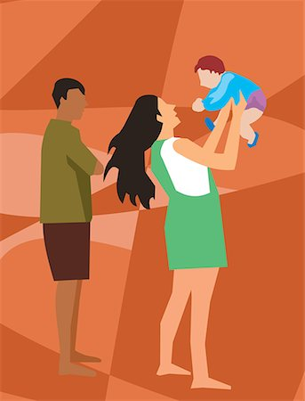 family abstract - Side view of family with their baby Stock Photo - Premium Royalty-Free, Code: 645-02153529