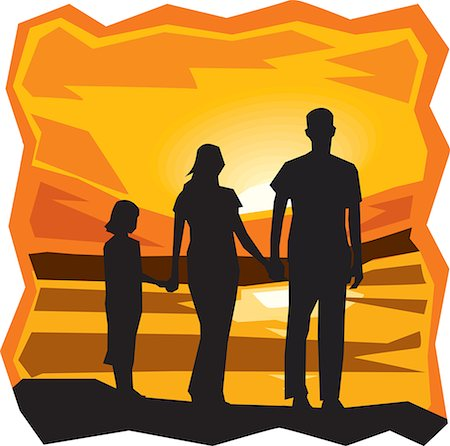 Rear view of family standing by the sea at sunset Stock Photo - Premium Royalty-Free, Code: 645-02153521