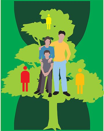 Family Standing on a tree with human figures Stock Photo - Premium Royalty-Free, Code: 645-02153522