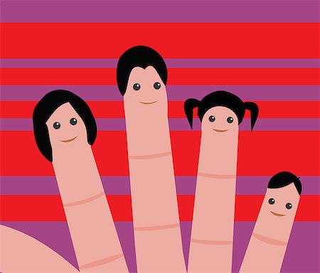 family abstract - Close up view of human faces drawn on fingertips Stock Photo - Premium Royalty-Free, Code: 645-02153534