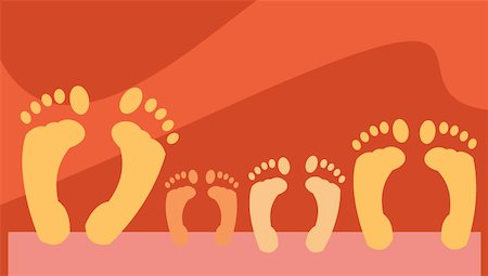 Close up footprints of family Stock Photo - Premium Royalty-Free, Code: 645-02153535