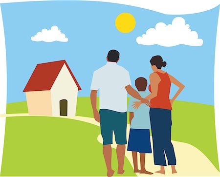 Rear view of family standing together Stock Photo - Premium Royalty-Free, Code: 645-02153537