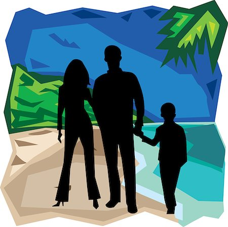 family abstract - Front view of family standing together Stock Photo - Premium Royalty-Free, Code: 645-02153530