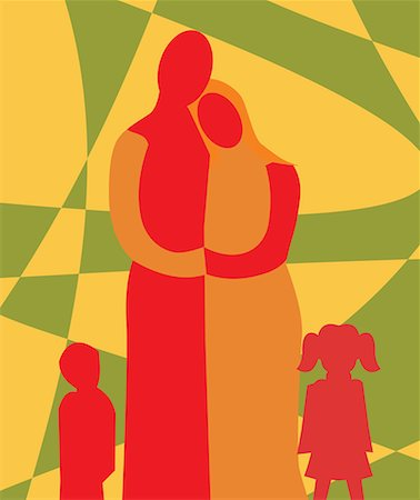family abstract - Front view of family standing together Stock Photo - Premium Royalty-Free, Code: 645-02153532
