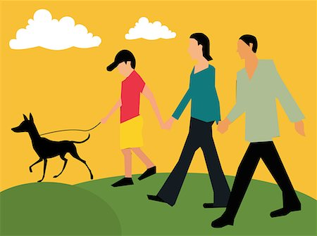 Side view of family walking with their pet Stock Photo - Premium Royalty-Free, Code: 645-02153533