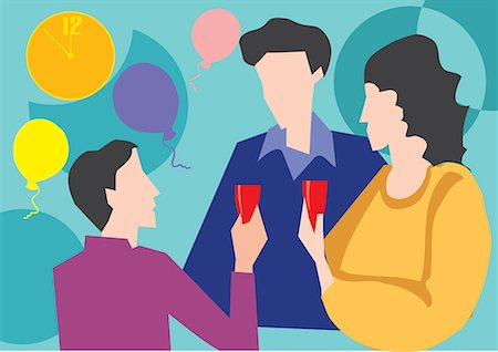 family abstract - Family having drink while enjoying party Stock Photo - Premium Royalty-Free, Code: 645-02153544