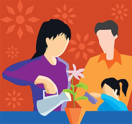 family abstract - Front view of family watering plant Stock Photo - Premium Royalty-Free, Code: 645-02153545
