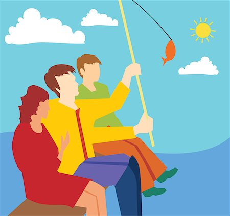 Side view of family fishing together Stock Photo - Premium Royalty-Free, Code: 645-02153546