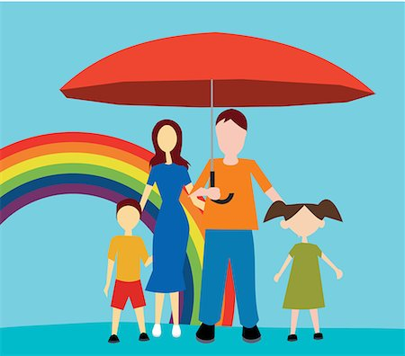 family abstract - Front view of family standing with umbrella Stock Photo - Premium Royalty-Free, Code: 645-02153547
