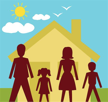 Front view of family standing in front of a house Stock Photo - Premium Royalty-Free, Code: 645-02153549