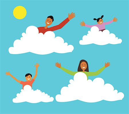Family sitting on clouds Stock Photo - Premium Royalty-Free, Code: 645-02153540