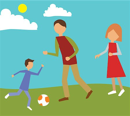 family abstract - Family playing in park Stock Photo - Premium Royalty-Free, Code: 645-02153541
