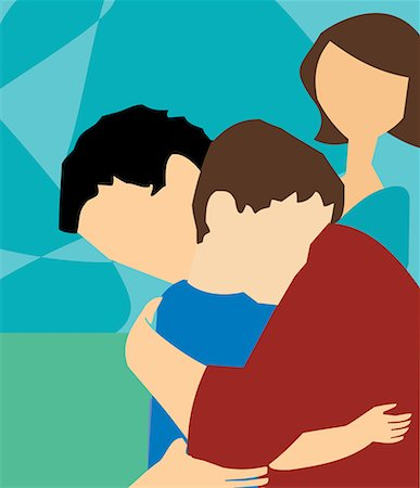 Side view of father hugging his son Stock Photo - Premium Royalty-Free, Code: 645-02153542