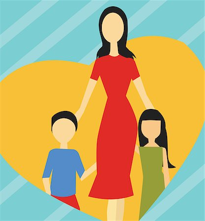 family abstract - Front view of family standing together Stock Photo - Premium Royalty-Free, Code: 645-02153543