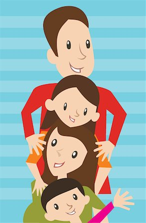Family lined up in a row Stock Photo - Premium Royalty-Free, Code: 645-02153550