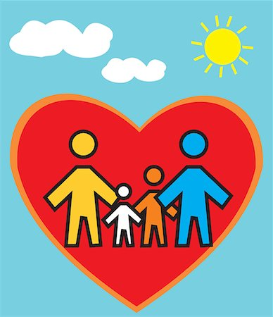 Family Standing in heart shape Stock Photo - Premium Royalty-Free, Code: 645-02153551