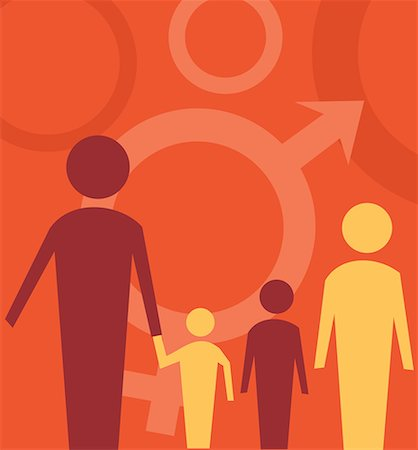 Family standing with male female sign Stock Photo - Premium Royalty-Free, Code: 645-02153552