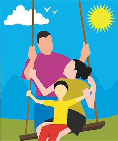 Parents with child on a swing Stock Photo - Premium Royalty-Free, Code: 645-02153553