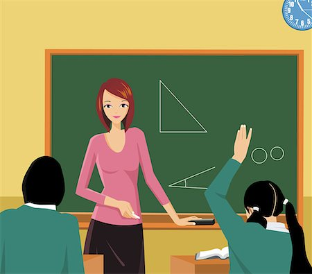students learning cartoon - Front view of a teacher teaching in a class Stock Photo - Premium Royalty-Free, Code: 645-02153600