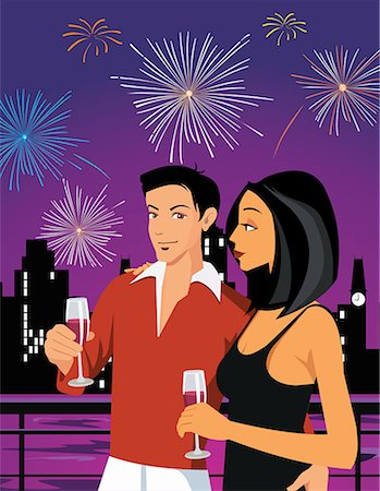 fireworks illustrations - Couple enjoying drink and firework display in the sky Stock Photo - Premium Royalty-Free, Code: 645-02153685