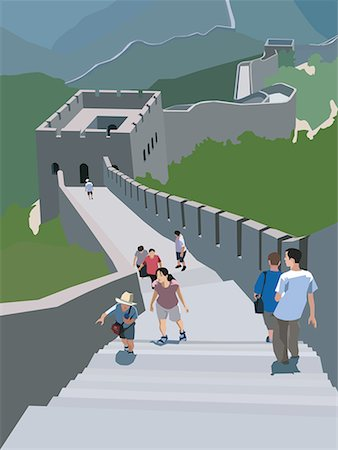 Tourists walking along the Great Wall of China, Badaling China Stock Photo - Premium Royalty-Free, Code: 645-02153746