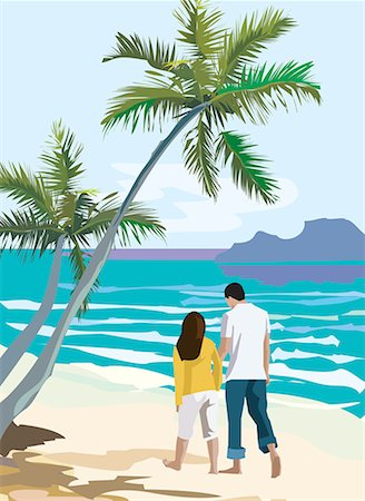 Rear view of couple strolling on beach Stock Photo - Premium Royalty-Free, Code: 645-02153743
