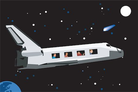 People traveling by space shuttle Stock Photo - Premium Royalty-Free, Code: 645-02153760