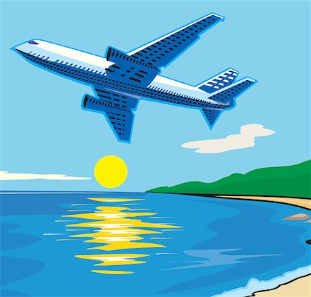 Aeroplane flying over sea Stock Photo - Premium Royalty-Free, Code: 645-02153761