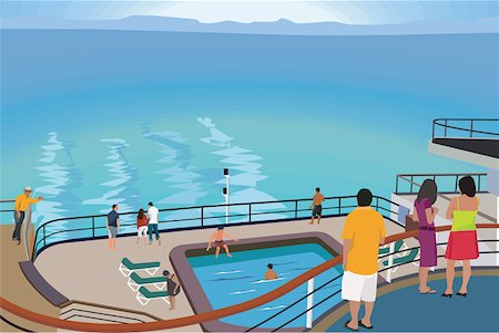 Tourists on cruise ship Stock Photo - Premium Royalty-Free, Code: 645-02153762