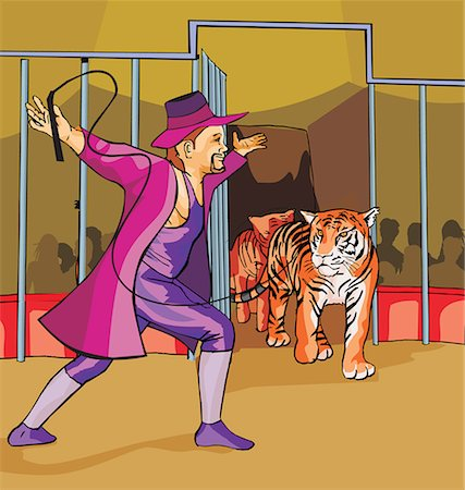 Side view of ringmaster with tigers in circus Stock Photo - Premium Royalty-Free, Code: 645-02153770