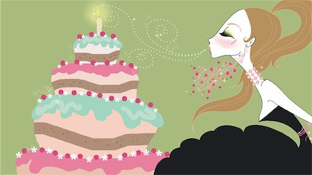 Young woman blowing out birthday candle Stock Photo - Premium Royalty-Free, Code: 645-02925878