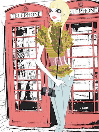 Young woman in front of phone booths Stock Photo - Premium Royalty-Free, Code: 645-02925887