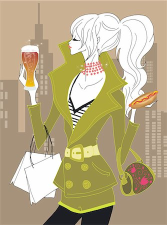 Young woman with beer and hot dog on the street Stock Photo - Premium Royalty-Free, Code: 645-02925921