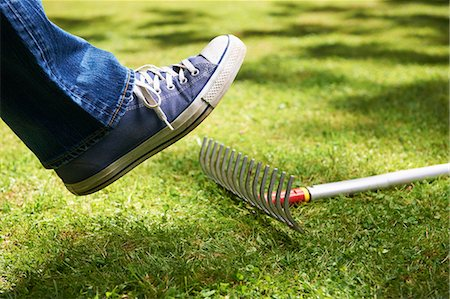 dangerous accident - Foot about to step on rake Stock Photo - Premium Royalty-Free, Code: 649-04247839