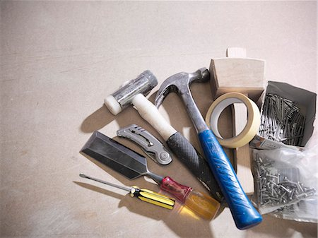 supply - Assorted tools on work surface Stock Photo - Premium Royalty-Free, Code: 649-04248825