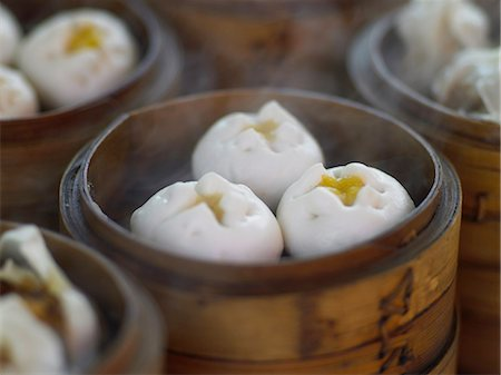 Close up of steamed dumplings Stock Photo - Premium Royalty-Free, Code: 649-04829062
